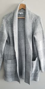 Alfred Sung cozy grey tartan cardigan sweater coat